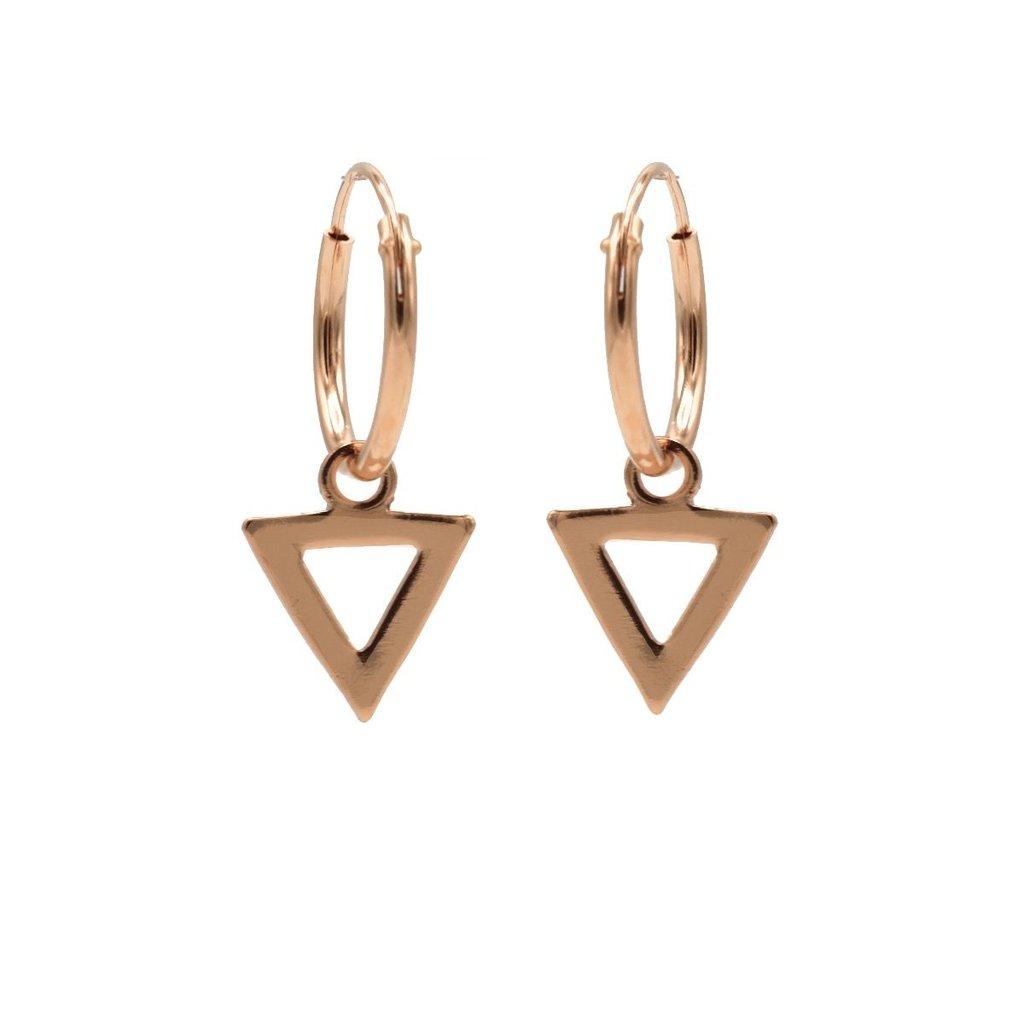 Karma oorbellen Hoops Symbols Open Triangel Rose Gold Plated