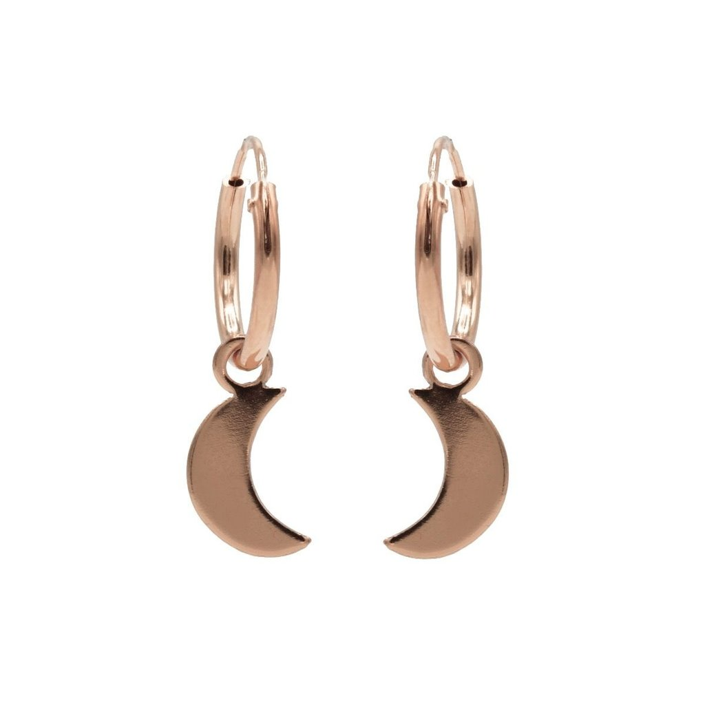 Karma oorbellen Hoops Symbols Moon Rose Gold Plated