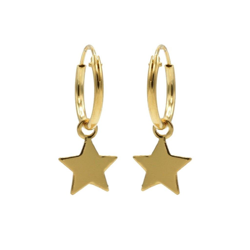 Karma oorbellen Hoops Symbols Star Gold Plated