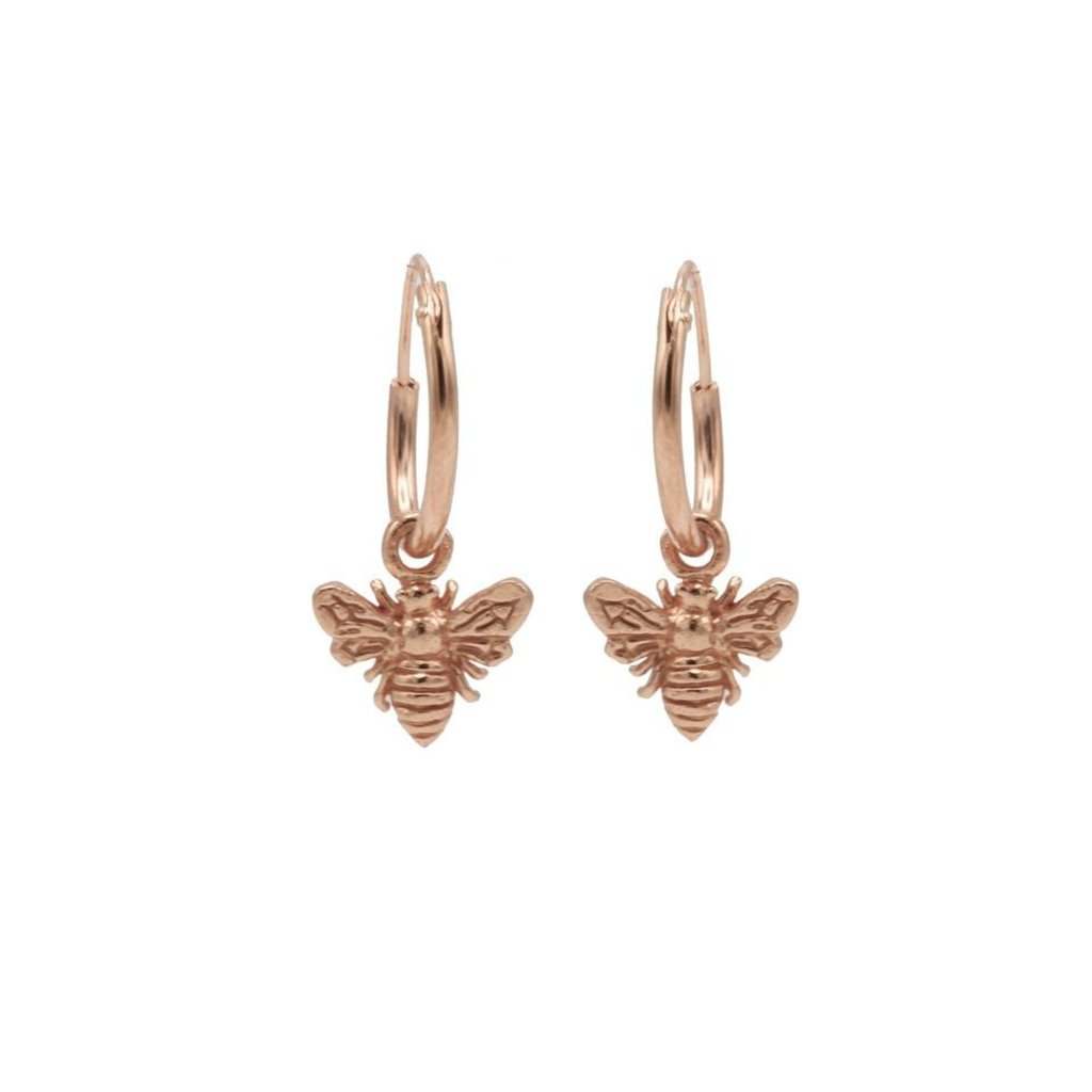 Karma oorbellen Hoops Symbols Bee Rose Gold Plated