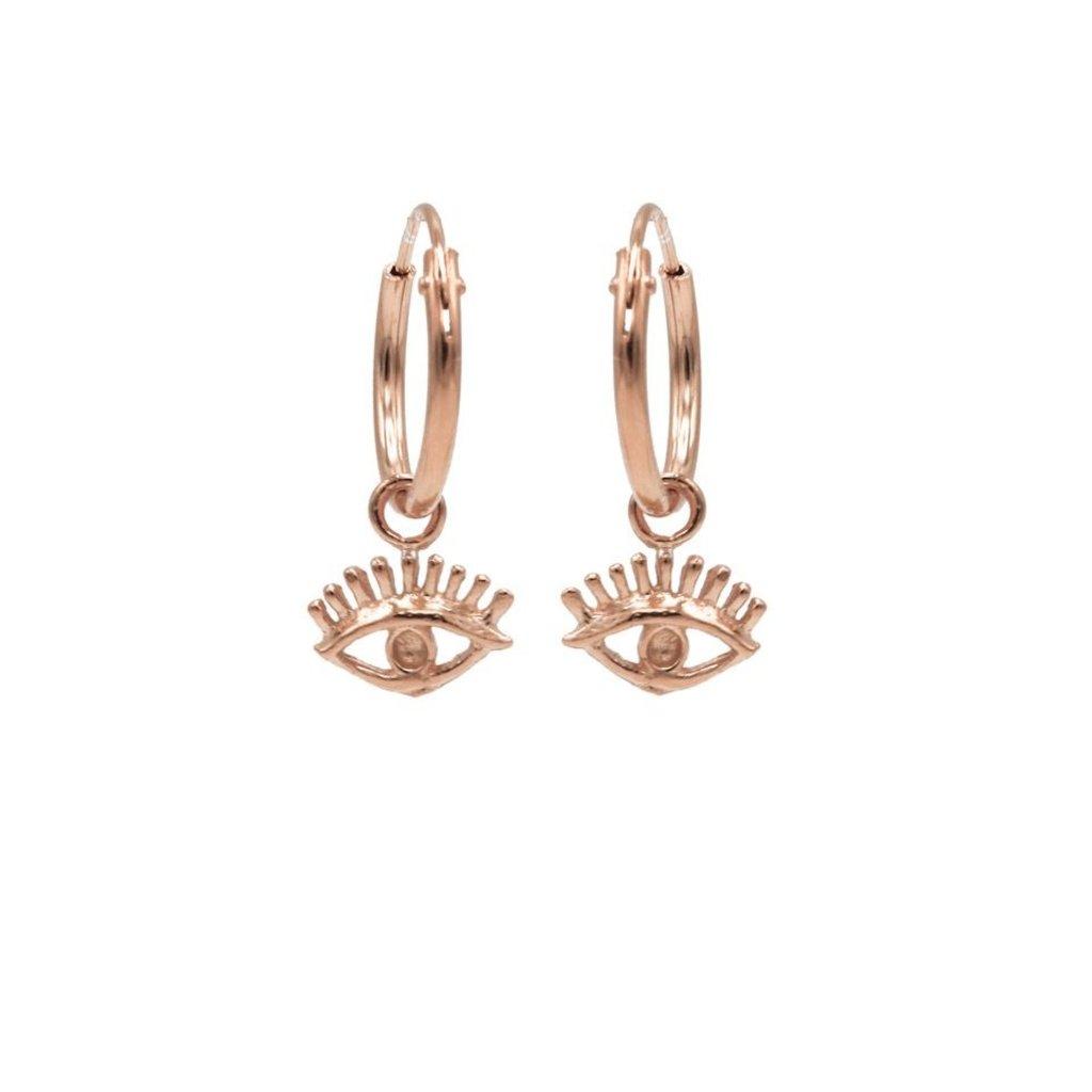 Karma oorbellen Hoops Symbols Eye Rose Gold Plated
