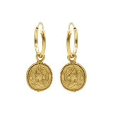 Karma oorbellen Hoops Symbols Coin Gold Plated