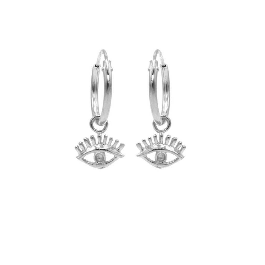 Karma oorbellen Hoops Symbols Eye Silver