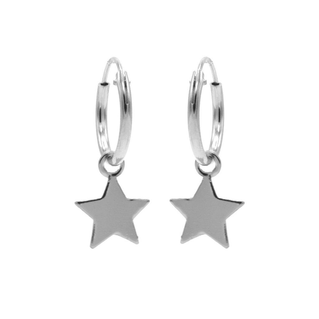 Karma oorbellen Hoops Symbols Star Silver
