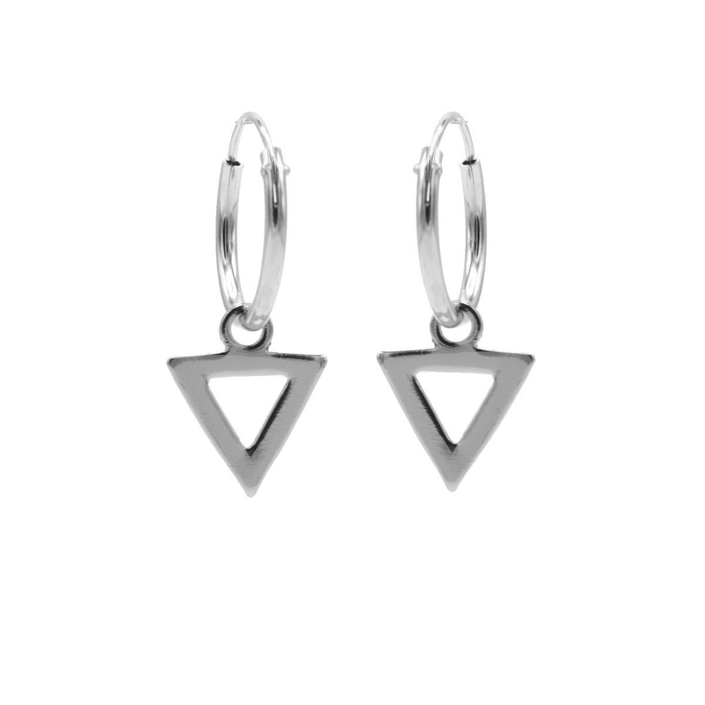 Karma oorbellen Hoops Symbols Open Triangel Silver