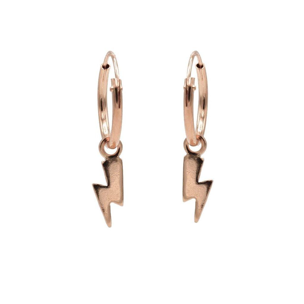 Karma oorbellen Hoops Symbols Lightning Rose Gold Plated