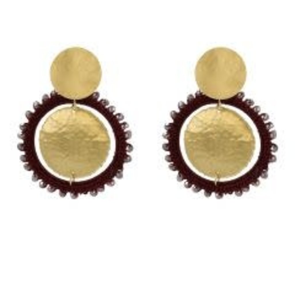 LOTT. Gioielli LOTT. Exclusive Collection oorbellen Circle Wine Red Gold Plated
