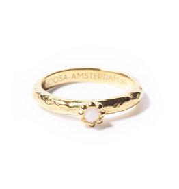 Noosa NOOSA Symbol Ring White Jade Stone Gold maat 58