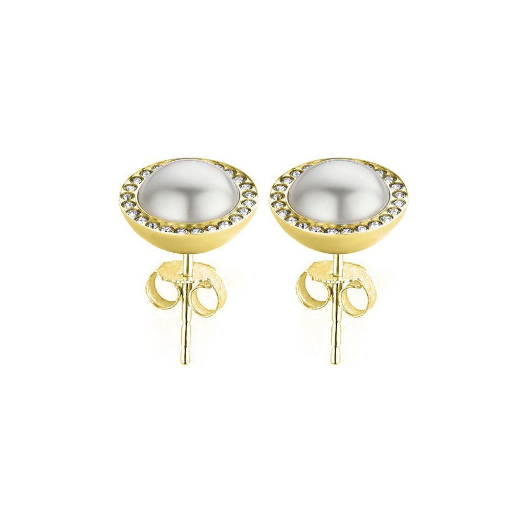 Melano Melano Friends oorbellen Pearl CZ Stone Gold Plated