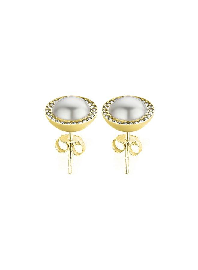 Melano Friends oorbellen Pearl CZ Stone Gold Plated