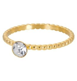 iXXXi Jewelry iXXXi vulring 2 mm Ball with Crystal Stone Gold Plated