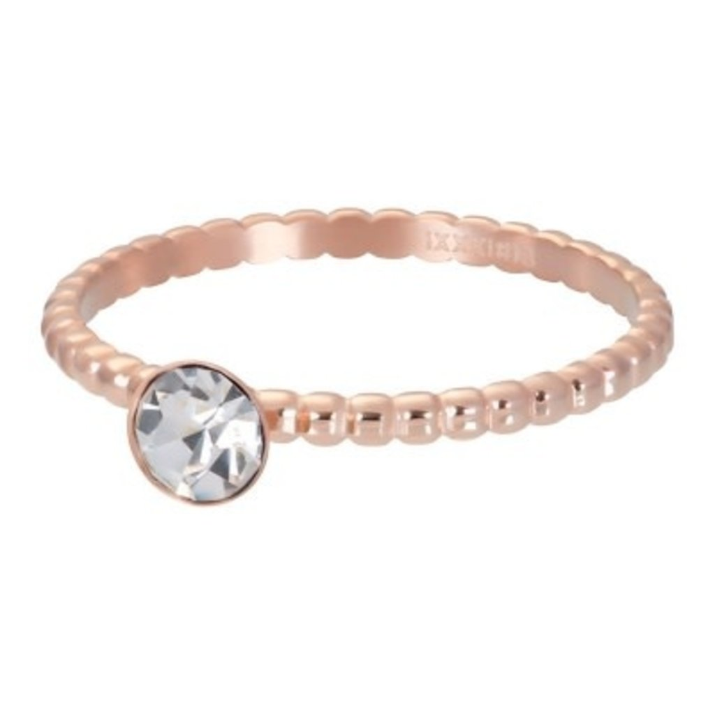 iXXXi Jewelry iXXXi vulring 2 mm Ball with Crystal Stone Rosé Gold Plated