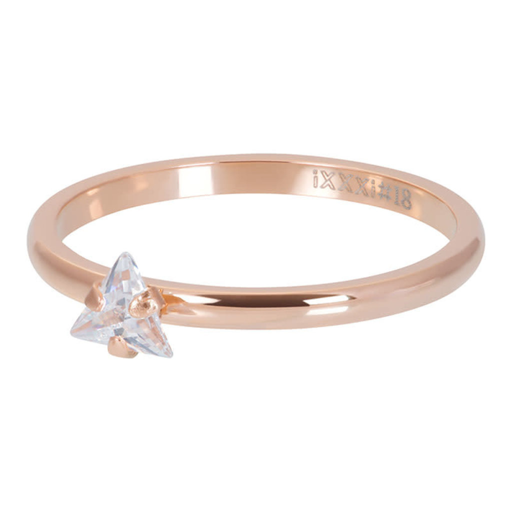 iXXXi Jewelry iXXXi vulring 2 mm Triangle Crystal Stone Rosé Gold Plated