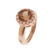 Bronzallure ring Brown Stone Rosé Gold mt. 50