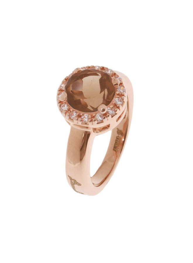 Bronzallure ring Brown Stone Rosé Gold mt. 50