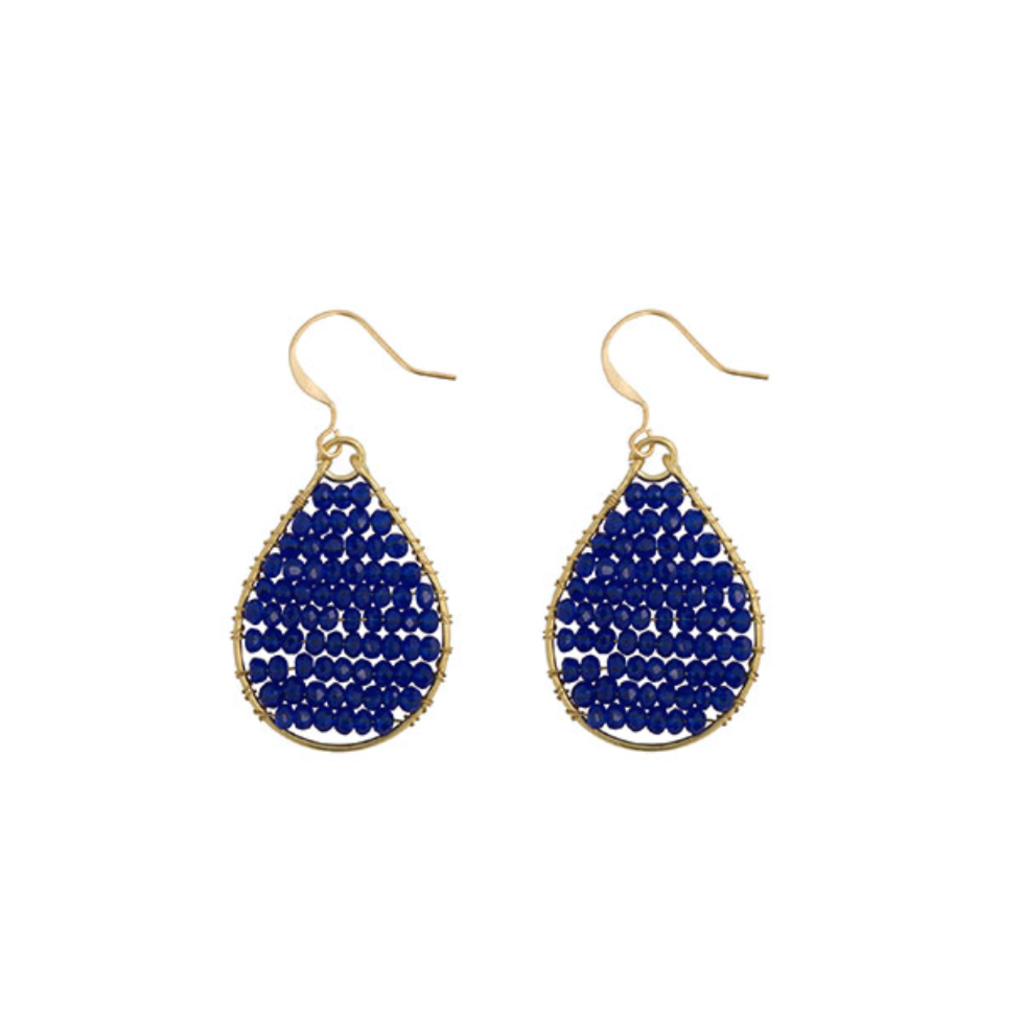 Hinth Hinth oorbellen Monsoon Royal Blue Gold Plated