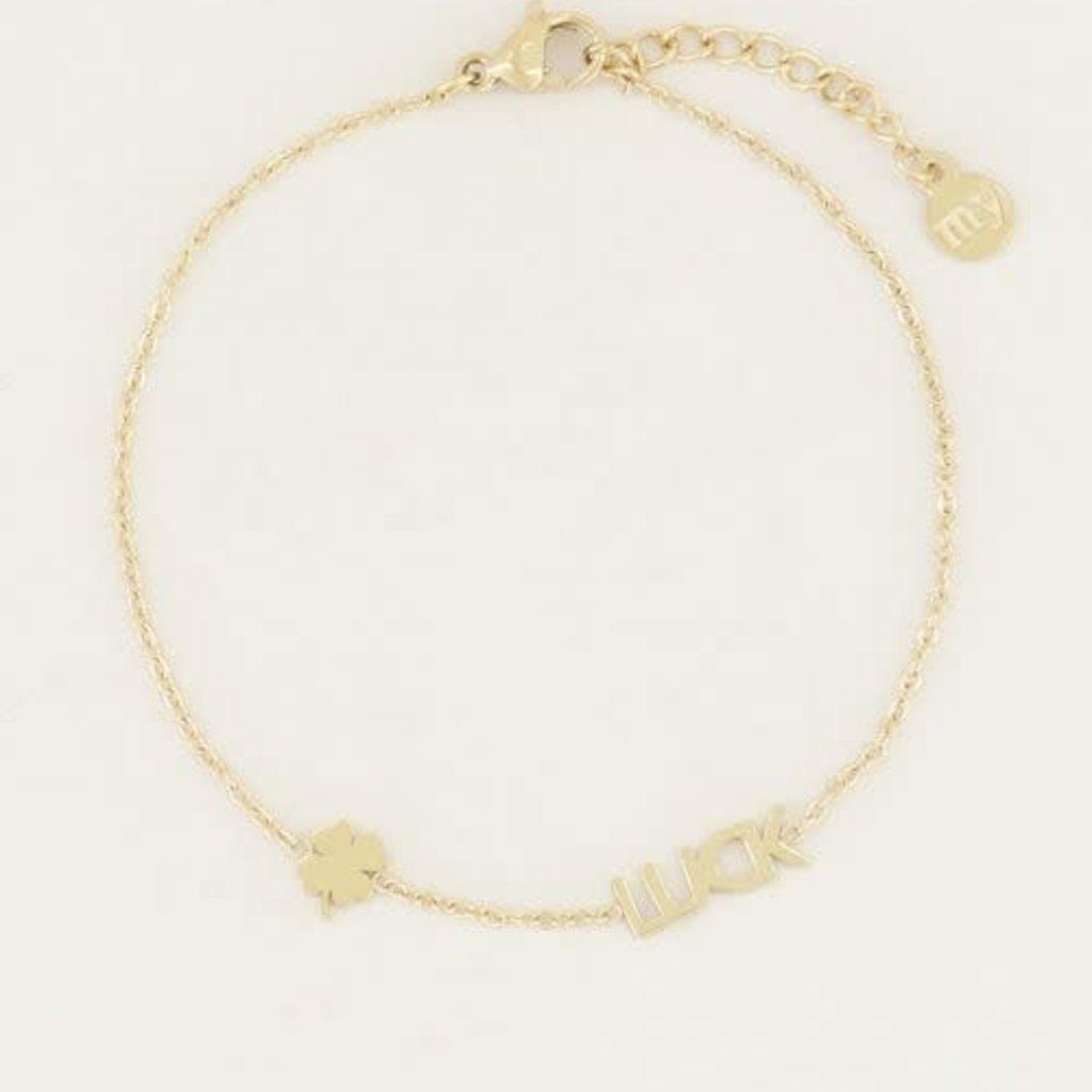 My Jewellery My Jewellery armband Luck met Klaver Goud
