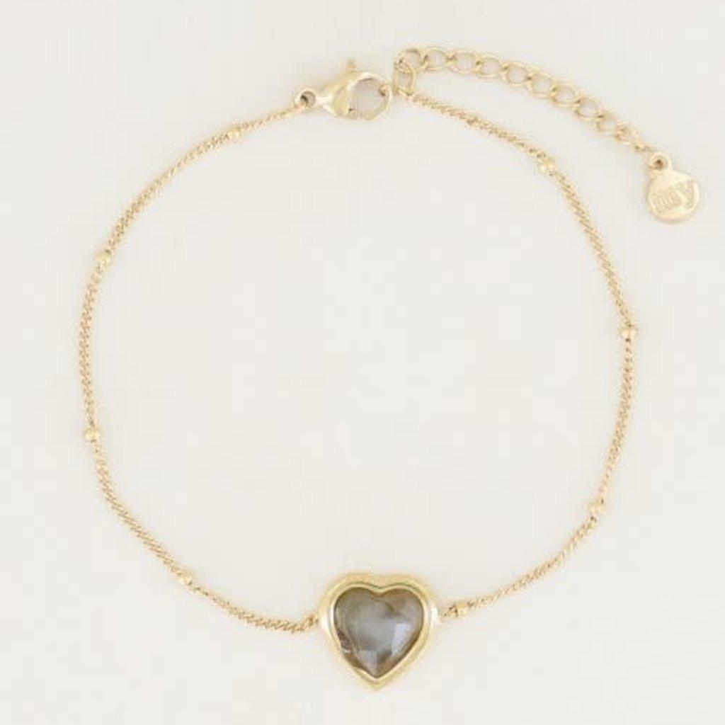 My Jewellery My Jewellery armband Labradorite Hartje Goud