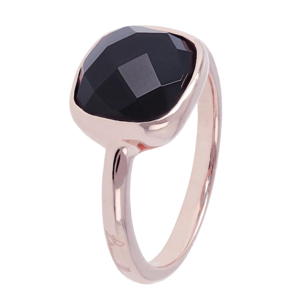 Bronzallure ring Facet Black Onyx Rosé Gold