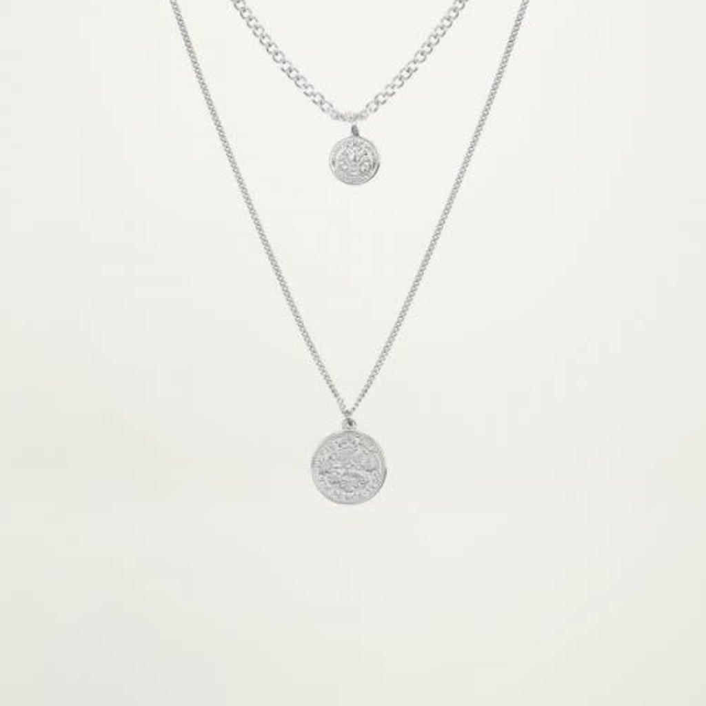 My Jewellery My Jewellery dubbele Ketting 2 muntjes Zilver