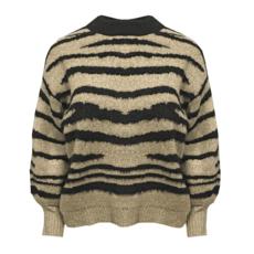 Drole de Copine trui Zebra Black/Sand one size