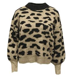 Drole de Copine trui Leopard Black/Sand