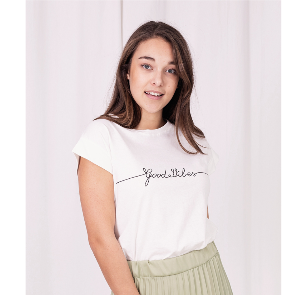 Turquoise by Daan T-shirt Good Vibes White/Bronze