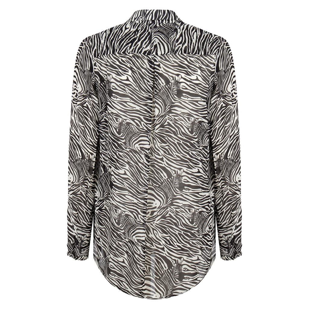 Jane Lushka Jane Lushka blouse CZ720SS10P Alexis Zebra White Black
