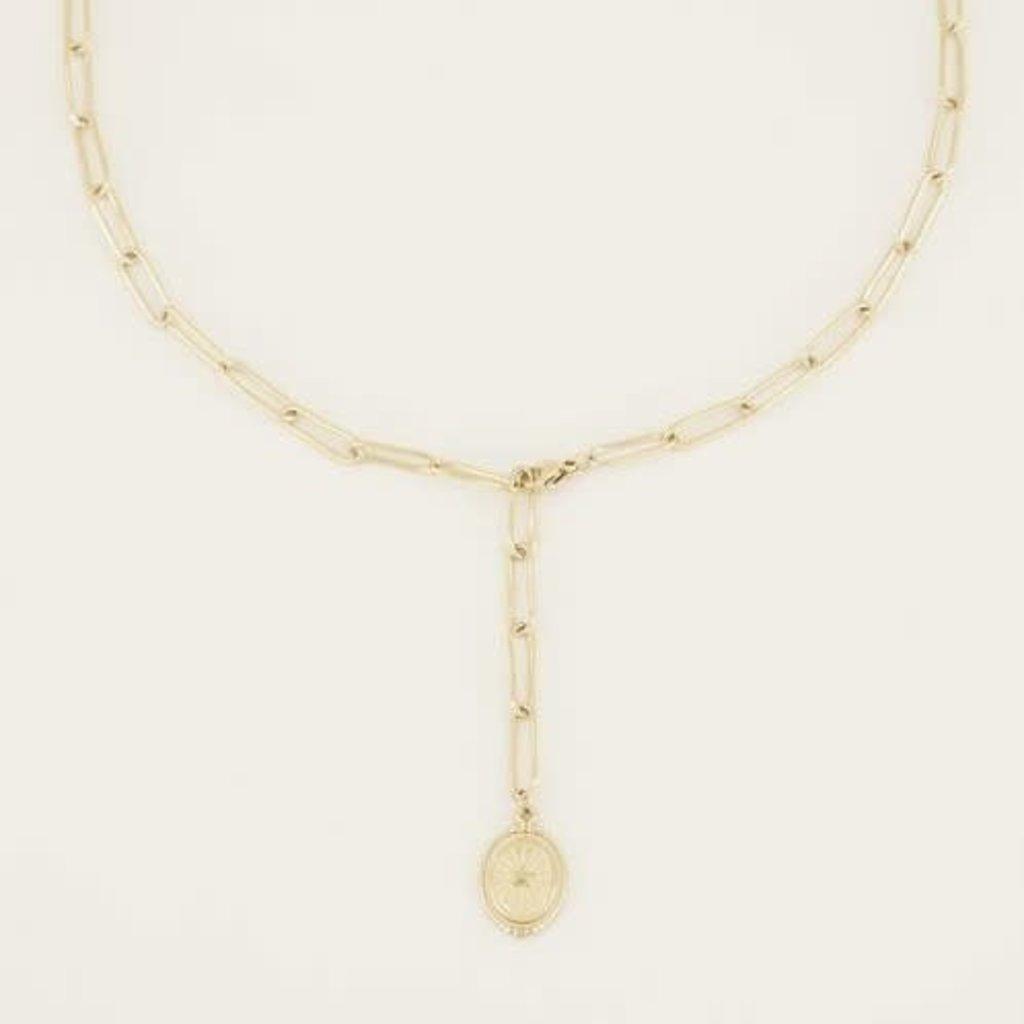 My Jewellery My Jewellery ketting Y-Vorm Met Munt & Ster Goud