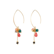 Hinth Hinth Oorbellen Bunch Pink Green Orange Gold Plated