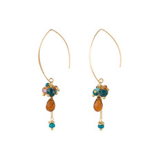 Hinth Hinth Oorbellen Bunch Green Orange Gold Plated