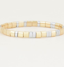 My Jewellery My Jewellery armband Platte kralen Goud Bi Color