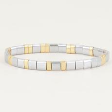 My Jewellery My Jewellery armband Platte kralen Zilver Bi Color