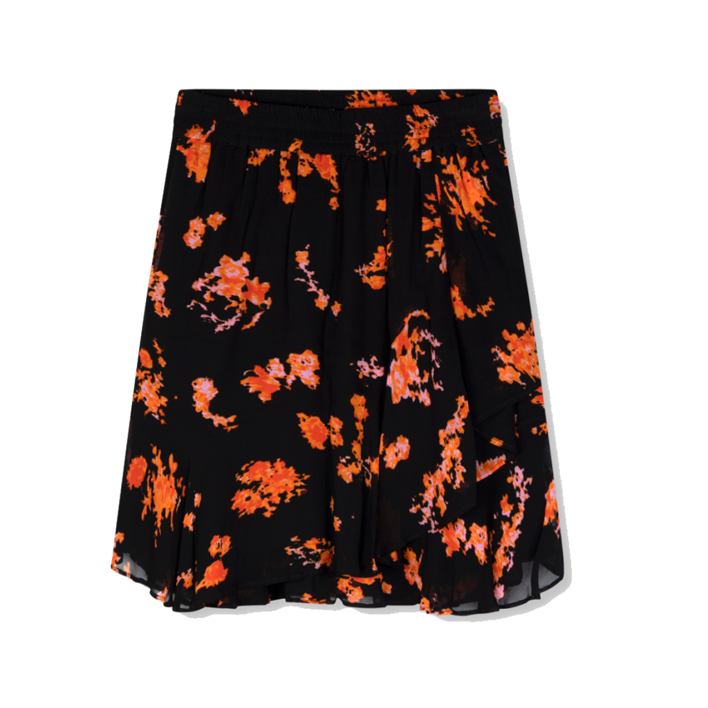 ALIX The Label ALIX rok Flowers Chiffon Black/Orange