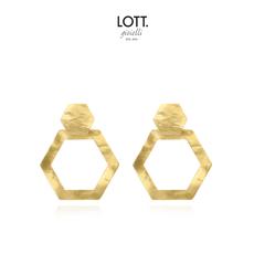 LOTT. Gioielli LOTT. oorbellen Hexagon M open Gold Plated