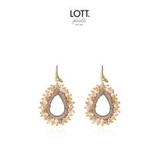 LOTT. Gioielli LOTT. oorbellen Glass Silk Urchin Drop M Champagne Gold Plated