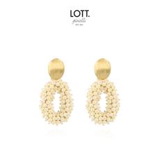 LOTT. Gioielli LOTT. oorbellen Glassberry Oval M Double Stones Pearl Gold Plated