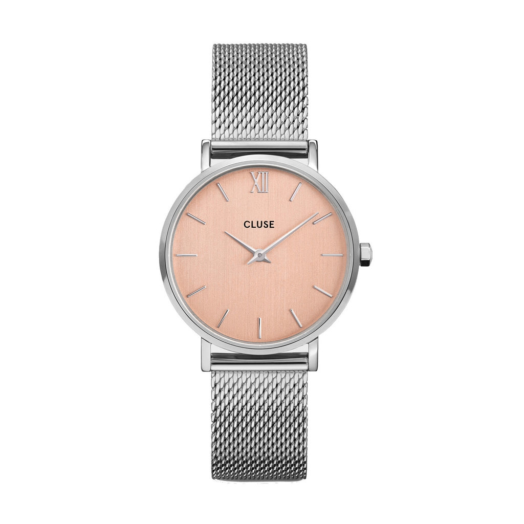 CLUSE CLUSE horloge Minuit Mesh Silver Rose