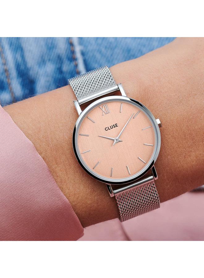 CLUSE horloge Minuit Mesh Silver/Rose
