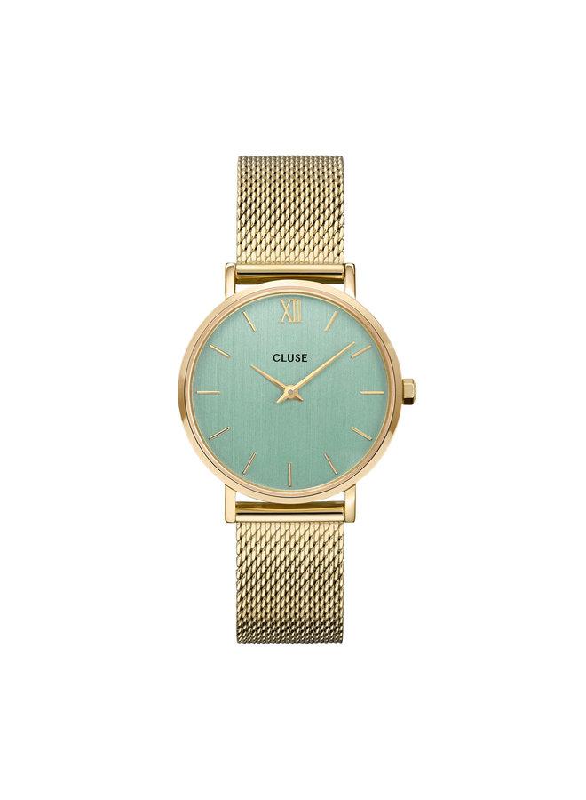 CLUSE horloge Minuit Mesh Gold/Stone Green