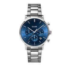 CLUSE CLUSE horloge ARAVIS Silver/Blue Chrono CW0101502011