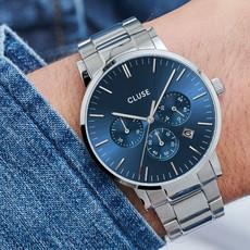 CLUSE CLUSE horloge Aravis Silver/Blue Chrono