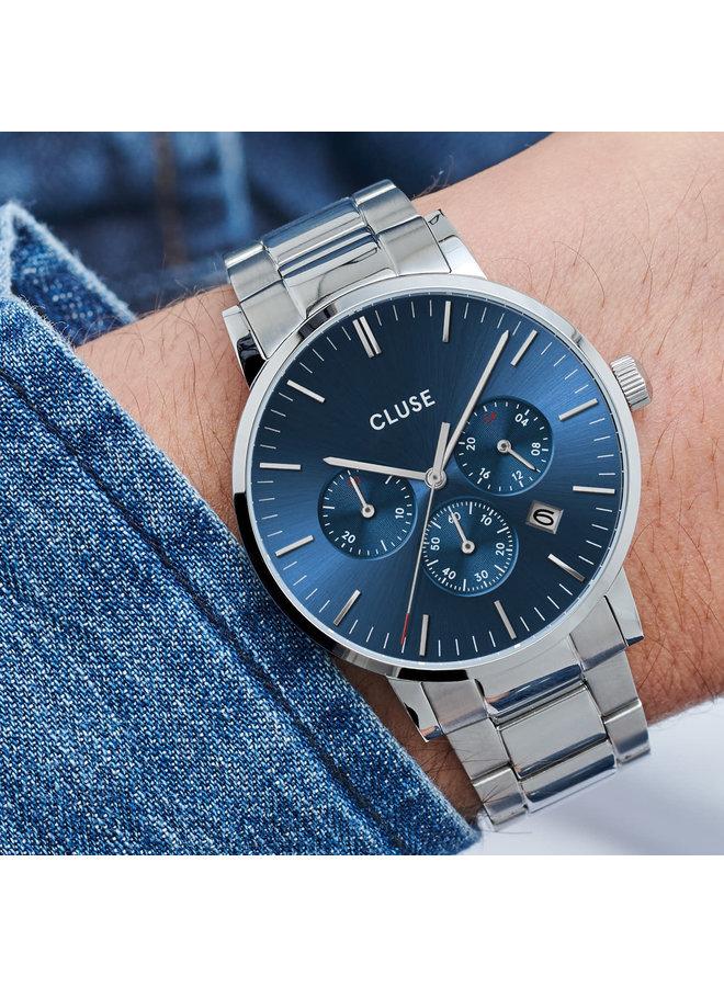 CLUSE horloge Aravis Silver/Blue Chrono