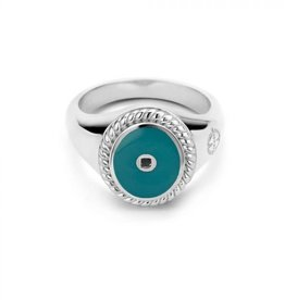 Mi Moneda Mi Moneda Icons ring Oval Turquoise Silver