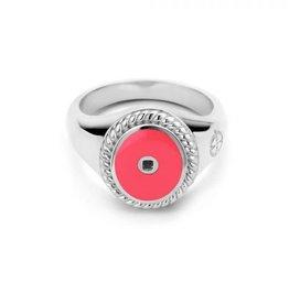 Mi Moneda Mi Moneda Icons ring Oval Hot Pink Silver