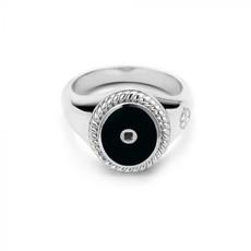 Mi Moneda Mi Moneda Icons ring Oval Black Silver