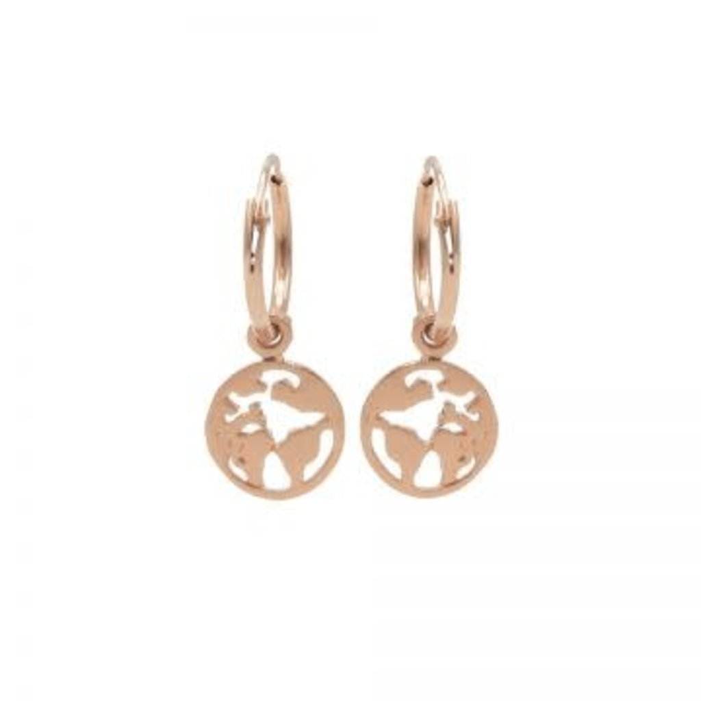 Karma Karma oorbellen Hoops Symbols Earth Rosé Gold Plated