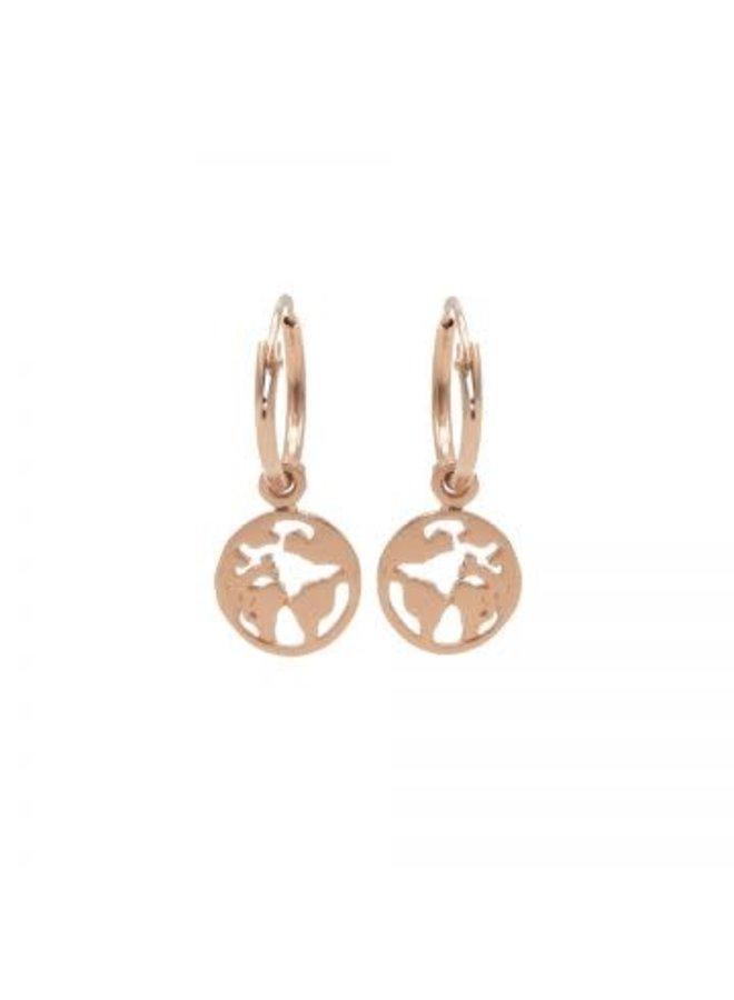 Karma oorbellen Hoops Symbol Earth Rosé Gold Plated