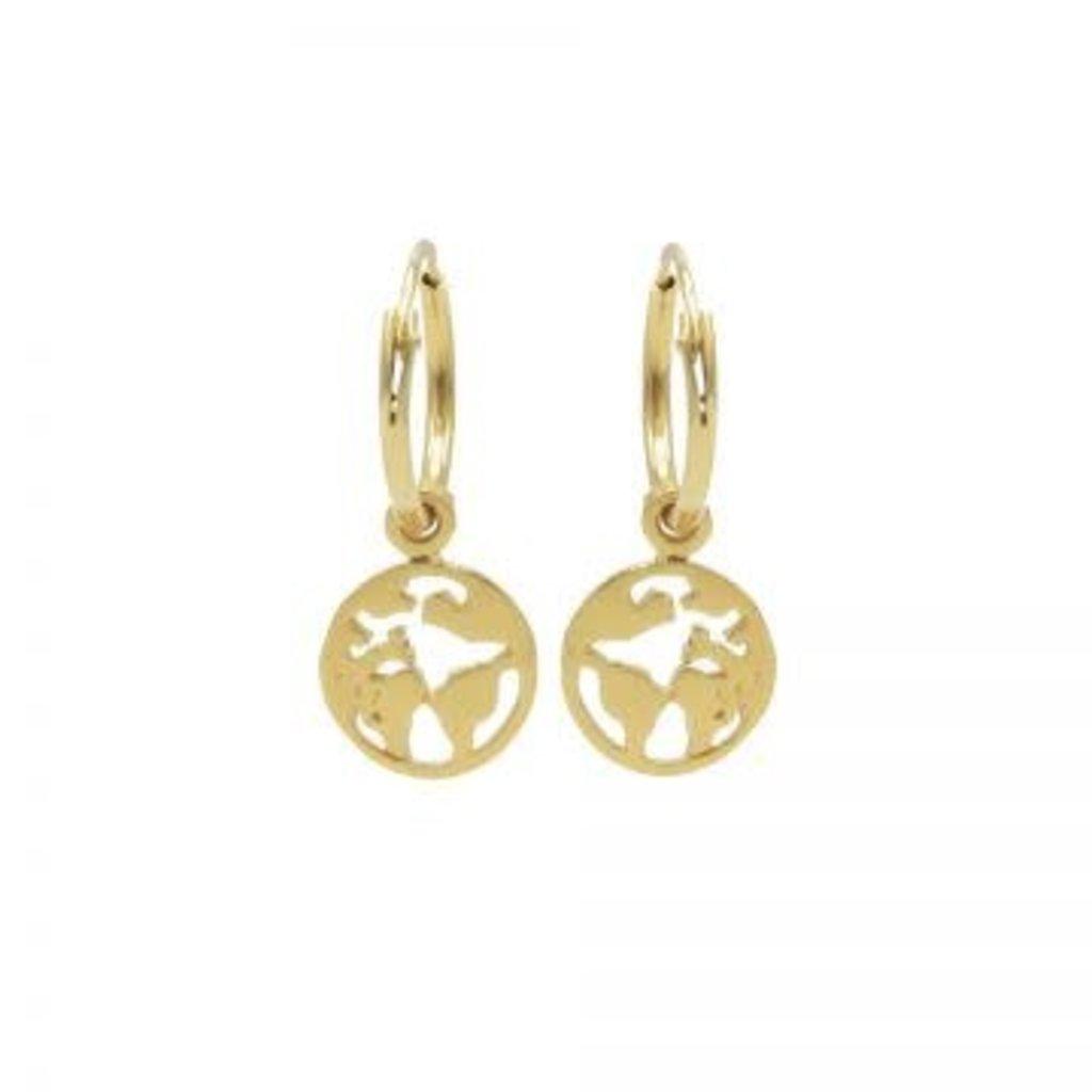 Karma Karma oorbellen Hoops Symbols Earth Gold Plated