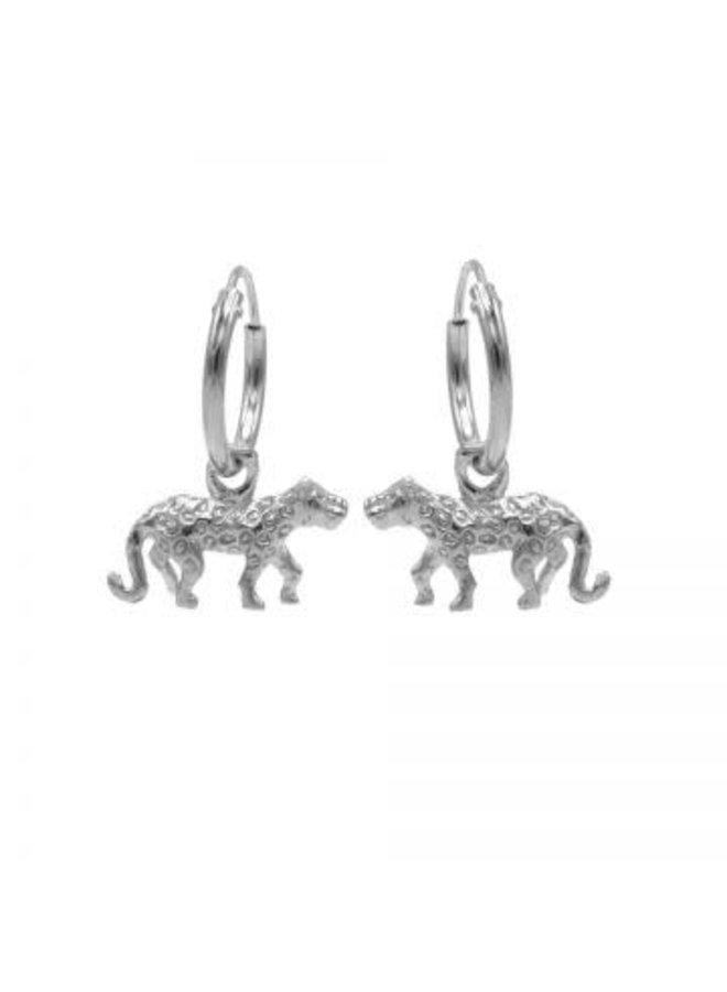 Karma oorbellen Hoops Symbol Leopard Silver